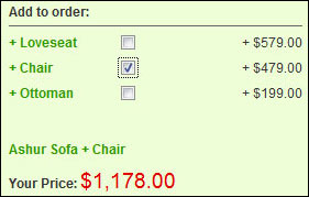 Adding a chair to the order, and the price changes accordingly