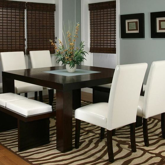 Modern ivory 7pcs counter height dining set