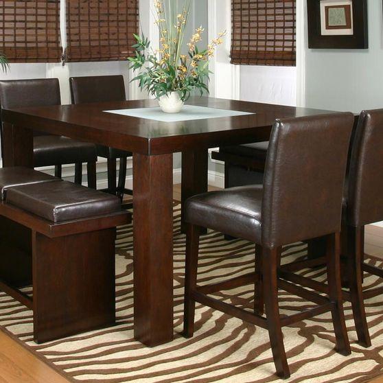 Modern espresso 7pcs counter height dining set