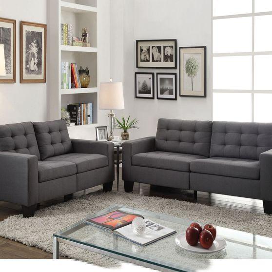 Gray linen casual style sofa