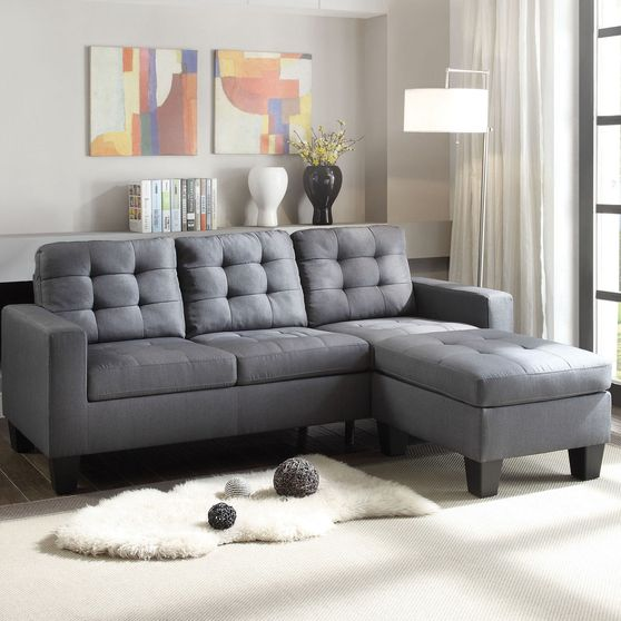 Gray linen reversible sectional sofa + ottoman set