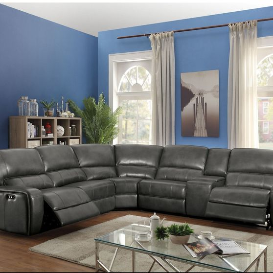 Gray leather aire power recliner sectional