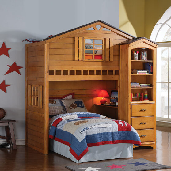 Rustic oak loft bed