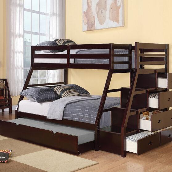 Espresso jason twin/full bunk bed w/storage ladder & trundle