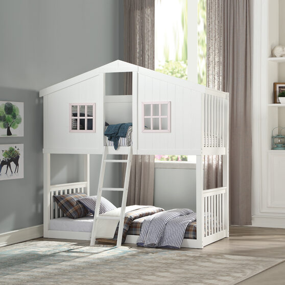 White & pink twin/twin bunk bed