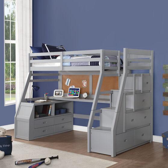 Gray loft bed & storage ladder
