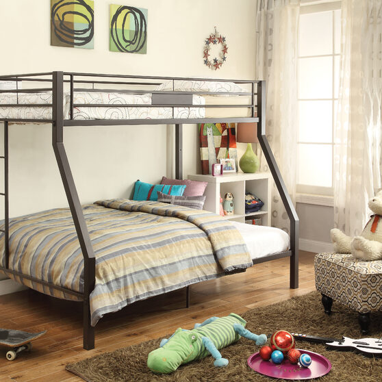 Sandy brown twin/full bunk bed