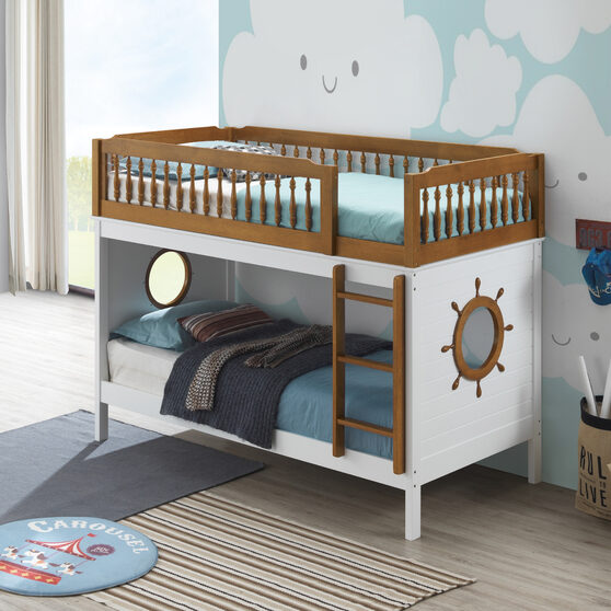 Oak & white twin/twin bunk bed