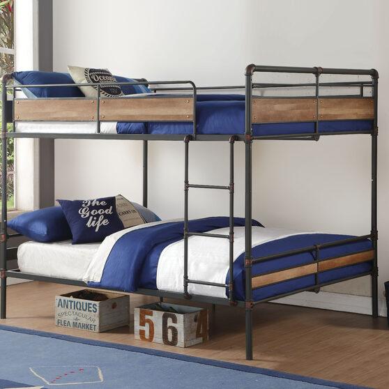 Sandy black & dark bronze hand-brushed queen/queen bunk bed, sandy black & dark bronze hand-brushed (1set/2ctn)