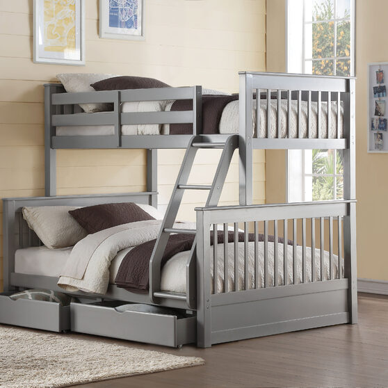 Gray twin/full bunk bed w/2 drawers