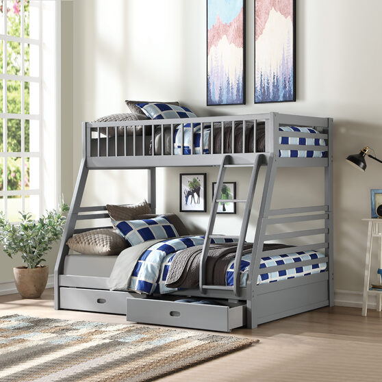 Gray twin / full bunk bed w/2 drawers