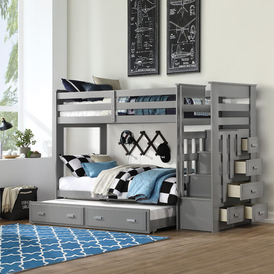 Gray twin/twin bunk bed w/storage ladder & trundle