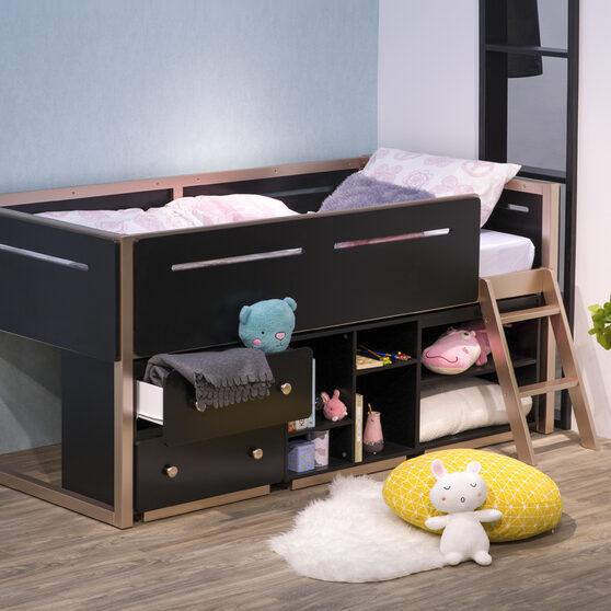 Black & rose-gold loft bed