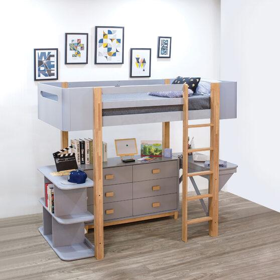 Gray & natural loft bed w/desk & bookshelf