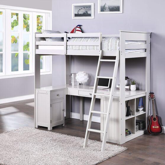 Light gray loft bed w/chest, desk & bookcase
