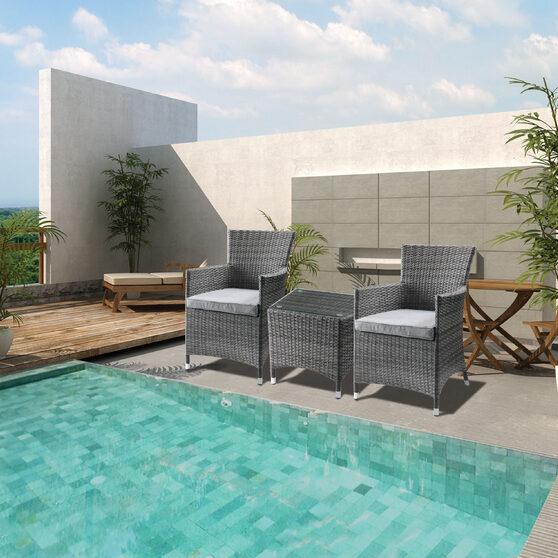 Gray fabric & gray wicker 3pc patio bistro set