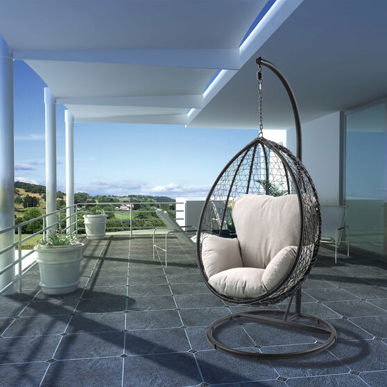 Beige fabric & black wicker patio swing chair with stand