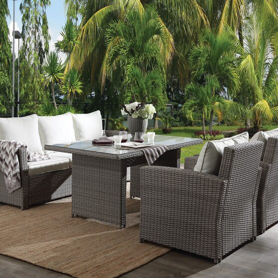 4pc patio set: fabric & 2-tone gray wicker