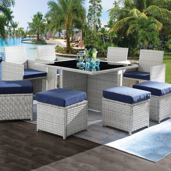 9pc patio set: blue fabric & wicker