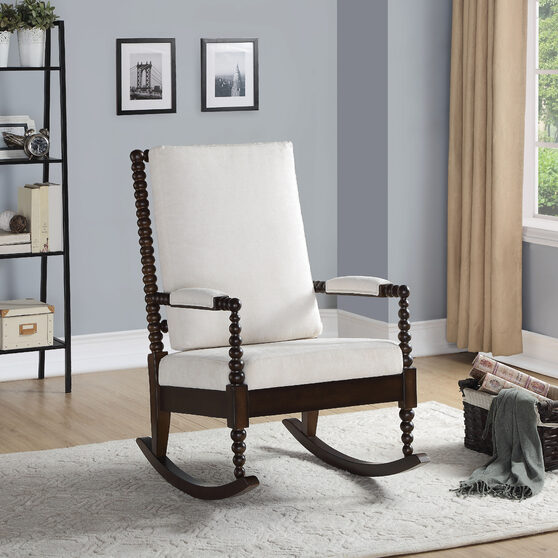 Cream fabric & walnut rocking chair