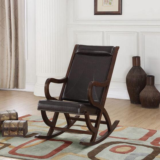 Espresso pu & walnut rocking chair