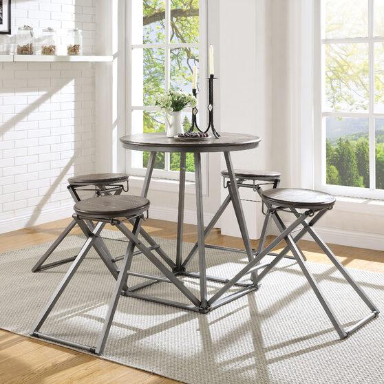 Gray oak & bronze 5pc pack counter height set