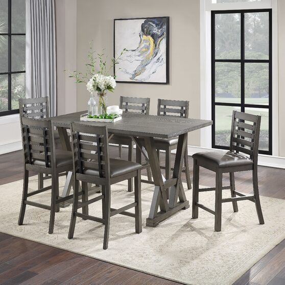 Gray finish counter height table