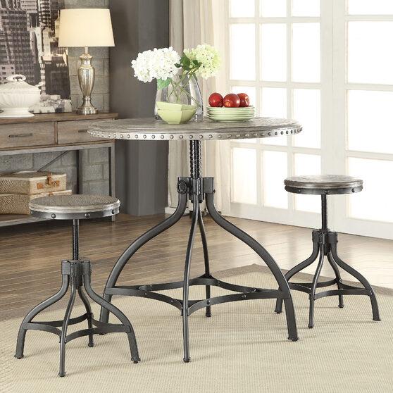 Gray oak & metal 3pc pack adjustable counter height set