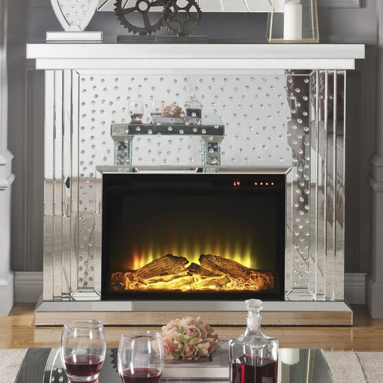 Mirrored & faux crystals fireplace