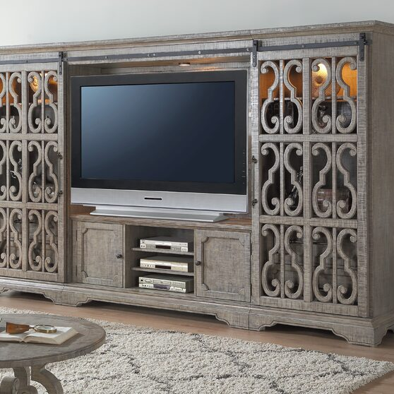 Salvaged natural finish entertainment center set