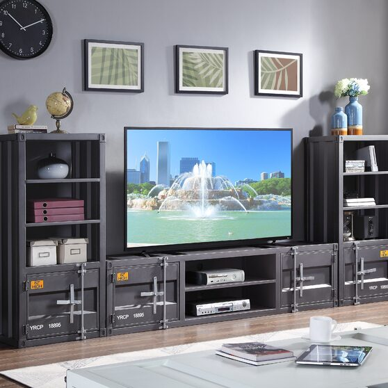 Gunmetal finish entertainment center