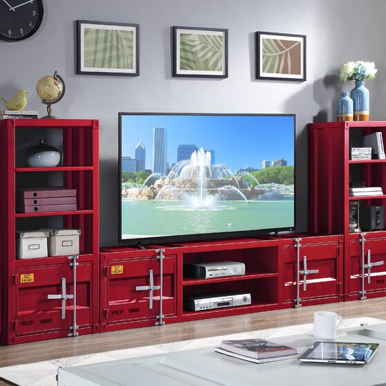 Red finish entertainment center
