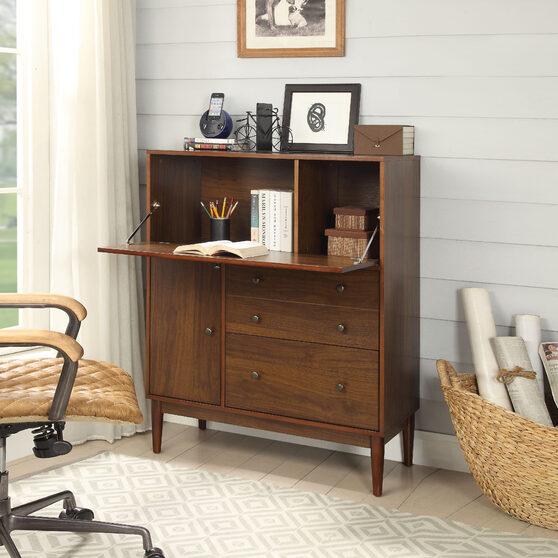 Walnut finish office armoire
