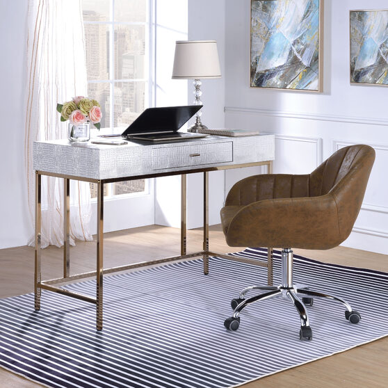 Silver pu & champagne vanity desk