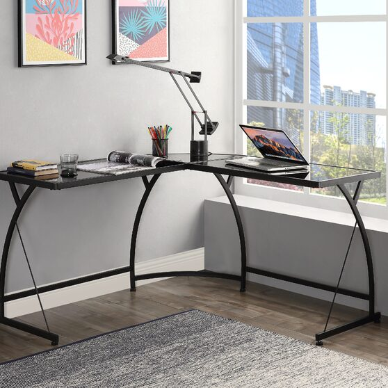 Black glass & black finish desk