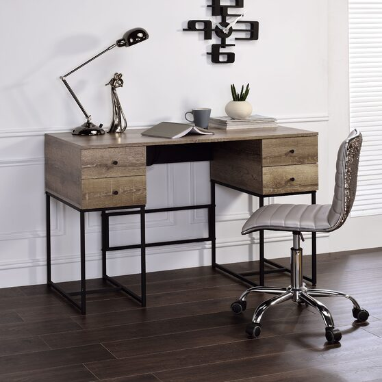 Rustic oak & black finish desk