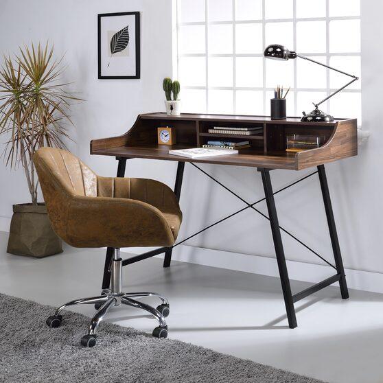 Walnut & black finish desk