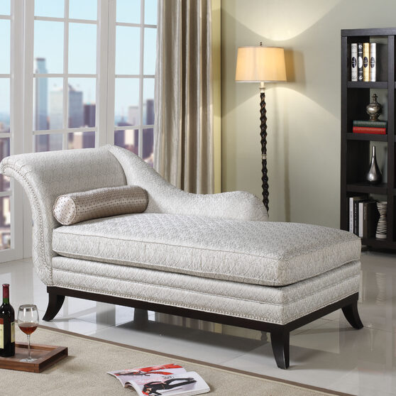 Beige fabric & dark cherry chaise with pillow