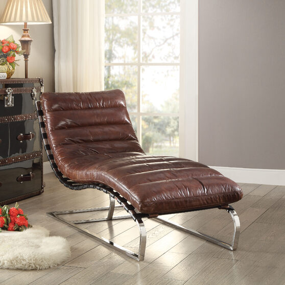 Vintage dark brown top grain leather & stainless steel chaise