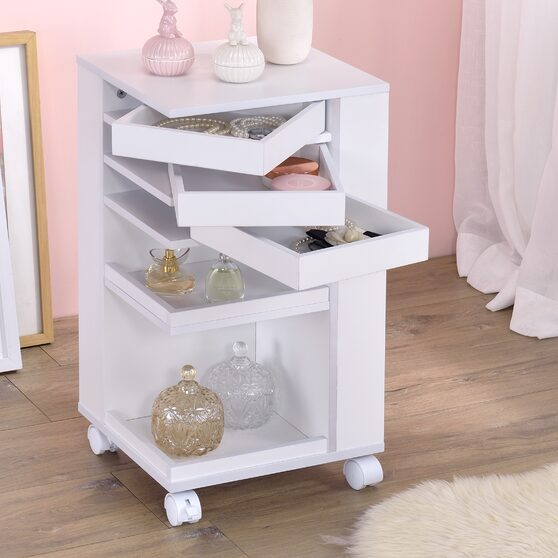 White finish cabinet with storage