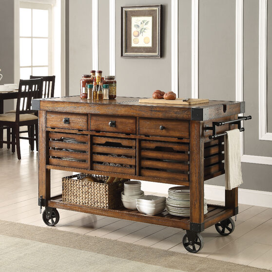 Distressed chestnut kitchen cart