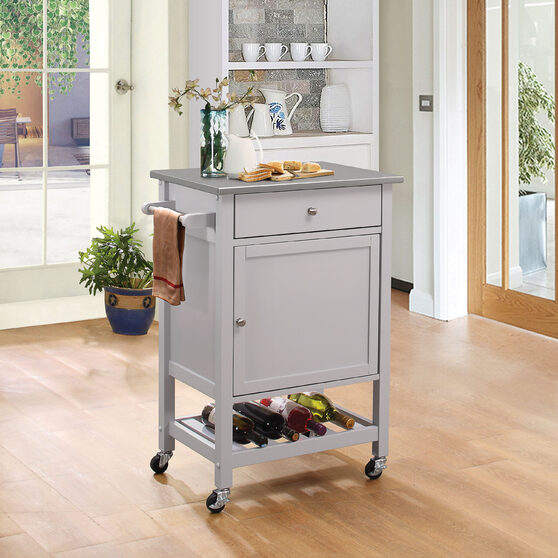Stainless steel & gray kitchen cart
