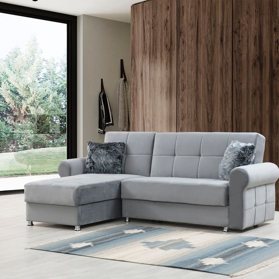 Small reversible sectional w/ bed and storage
