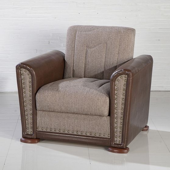 Gray-brown casual chair w/ bed and storage