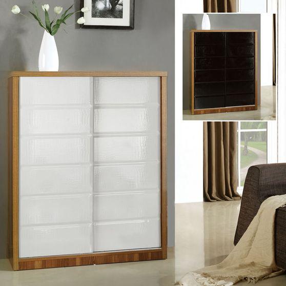 Walnut frame / alligator skin sliding door cabinet