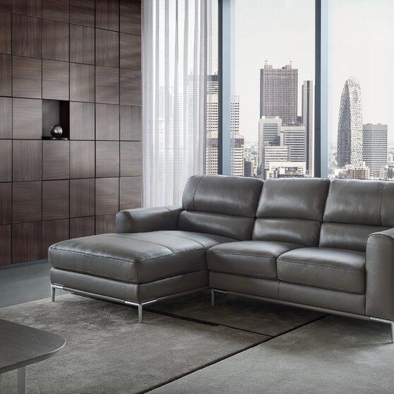 Modern top grain gray leather sectional sofa