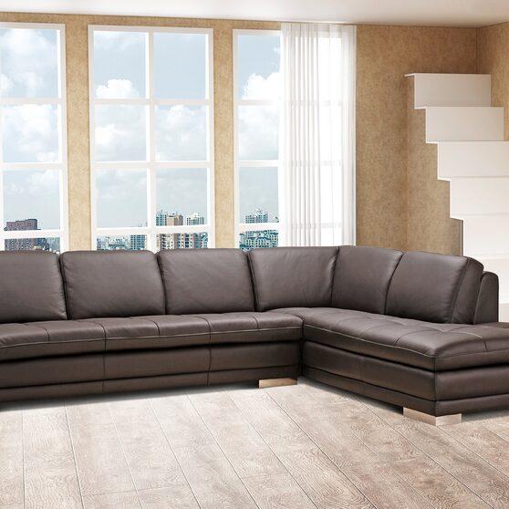 Italian full leather dark chocolate sectional sofa