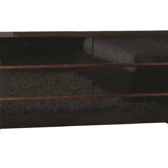 High gloss black and walnut dresser