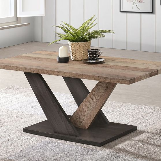 V-shaped base modern coffee table