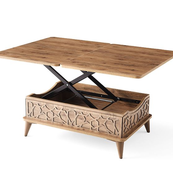 Neutral wood lift top traditional style cocktail table